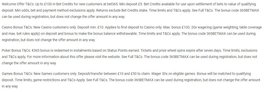 bet365 bonus - terms & conditions